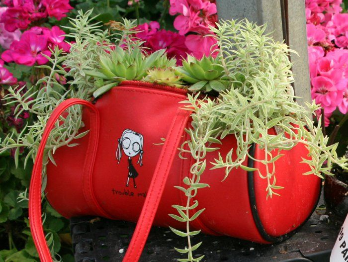 Deko Ideen Selbermachen damentasche pflanzenbehälter