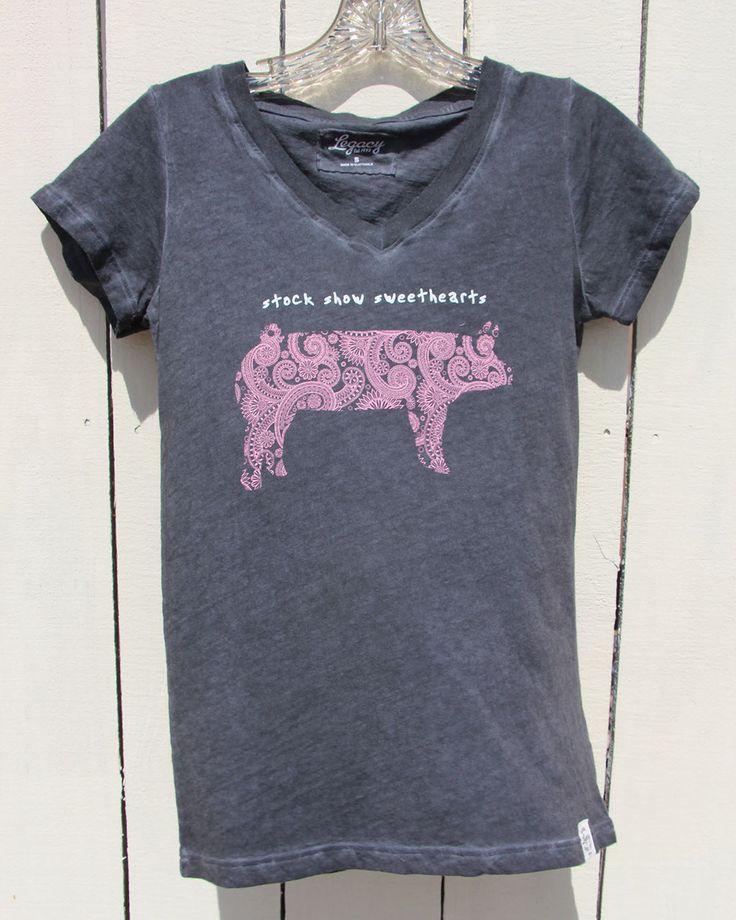 Black Burnout Pig Shirt - Stock Show Sweethearts