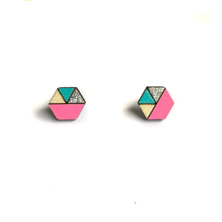 Amindy - Hand painted hexagon Sliced Earrings - Neon Pink, Aqua and Silver Glitter - $22 - Shop online at www.amindy.com.au