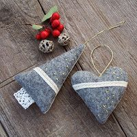 Scented lavender tree and heart (felt/linen)