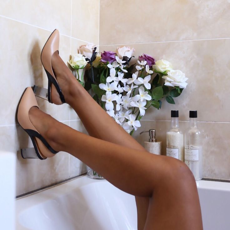Heels in the tub - wearing Charles & Keith shoes