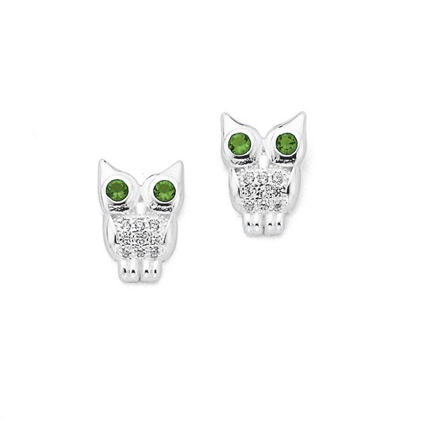Silver Pave CZ Owl With Green CZ Eyes Studs