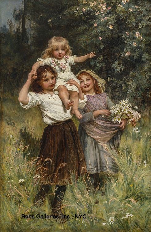 ART~ Arthur John Elsley~ Picking Daisies                                                                                                                                                     Mais