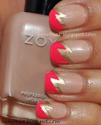 Double Lightning Bolt Nail Art from heartnat using Zoya Nail Polish in Shay and Zoya Layla!