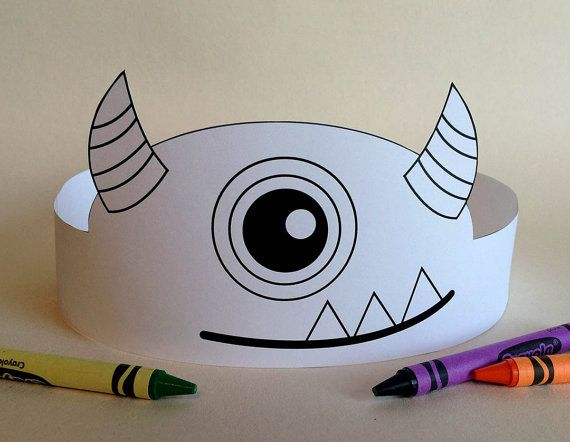 Monster Crown COLOR YOUR OWN Printable by PutACrownOnIt on Etsy, $1.50