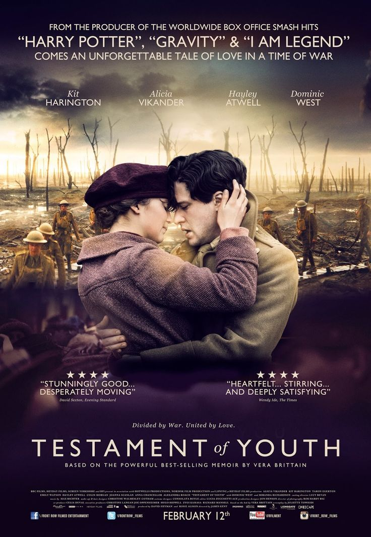 Testament Of Youth - starring Alicia Vikander, Kit Harrington, Taron Egerton, Hayley Atwell and Dominic West. 2015