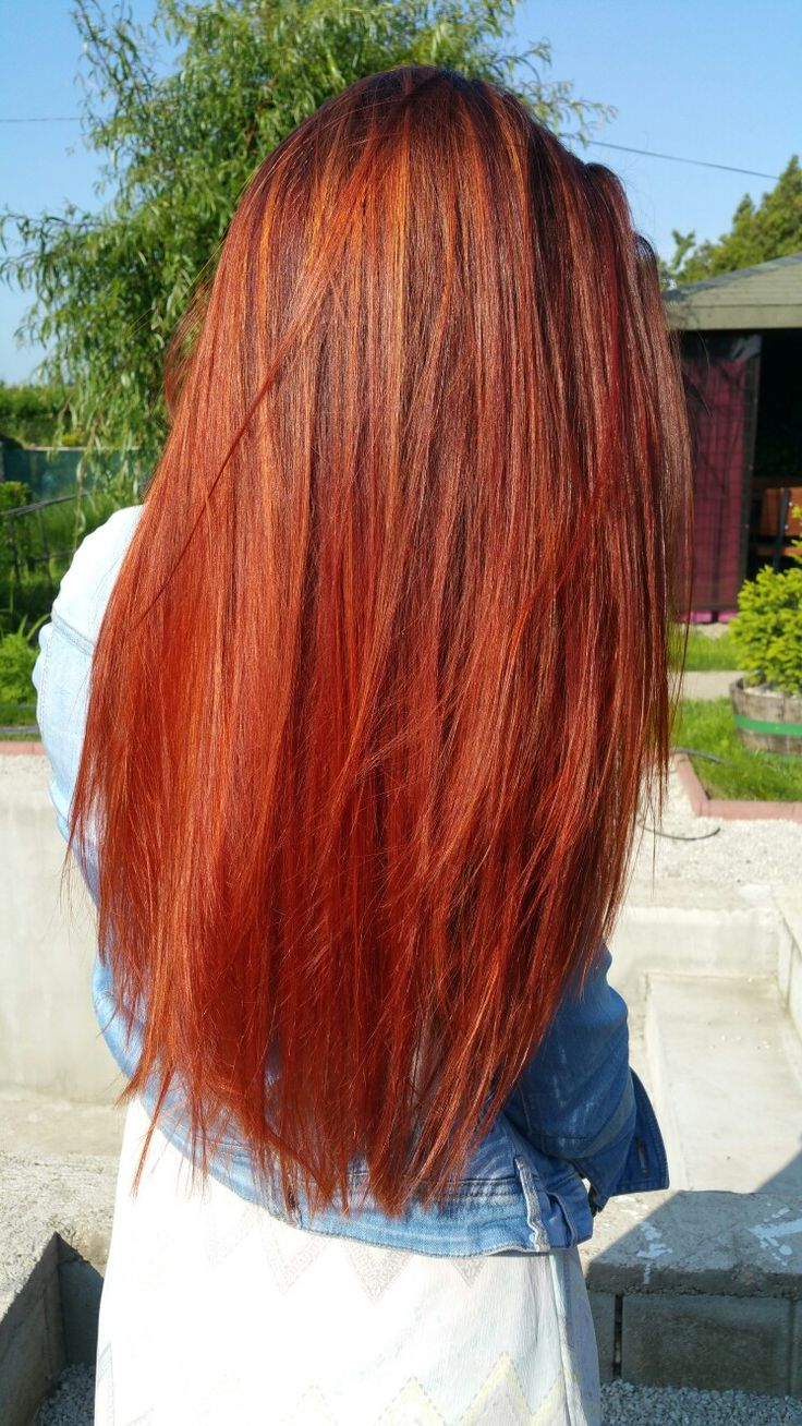 Red-orange ombre balayage hair