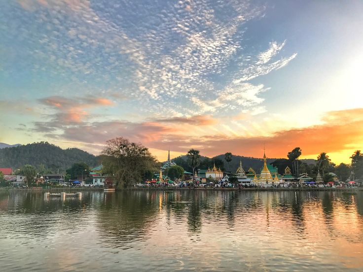 Sunset at  Street Market, Mae Hong Son, Thailand