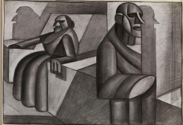 Fortunato Depero, Architettura sintetica (2 figure). (Plastiche sotterranee), 1917