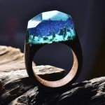 Ooooo yes ♡ Snowy Mountains and Undersea Worlds Encapsulated Within Wood and Resin Rings