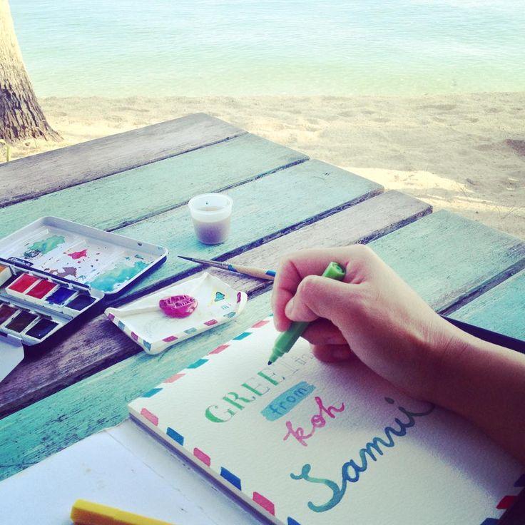 #greetings from #kohsamui #코사무이 에서 보내는 #인사 #morning #drawing #watercolour #marker #watercolor #caligraphy #letter #postcard #beach #holiday #아침 #드로잉 #수채화 #마커 #싸인펜 #캘리그라피 #편지 #엽서 #해변 #휴가