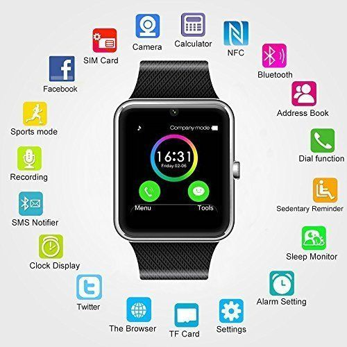 Smart Watch Phone Bluetooth Iphone Android iOS Water Resistant Pedometer Sim NEW #Yavic