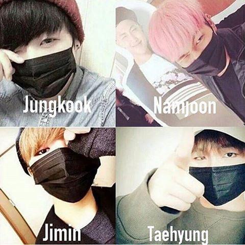 Namjoon, Taehyung, Jimin, Jungkook wearing a black mask💕 #fff #lfl #love #bts #bighitentertainment #namjoon #jimin #jungkook #v #taetae #taehyung #goldenmakane #kookie #kpop #army #아미 #방탄소년단 #뷔 #태형 #태태 #지민 #정국