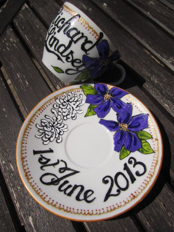 Hand painted wedding tea cup and saucer, personalised gift or decoration via Etsy