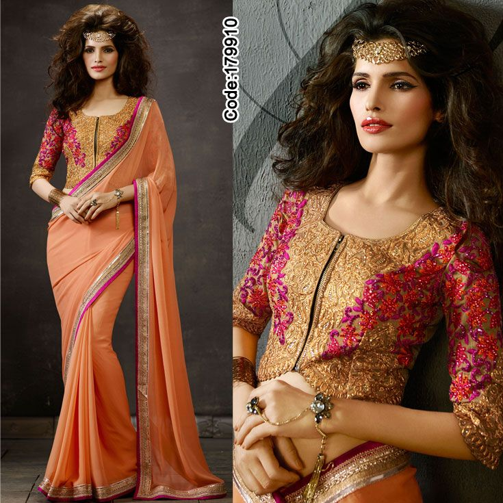 #Orange #chiffon #saree completing the look with front zipped designer blouse. #Sari #Mirrorwork #Orange #Peach #ZiipedBlouse #Zip #BorderWork #DesignerBlouse #Embroidery #LehengaCholi #Shimmer #Designer #DesignerBlouse #Occasion #IndianDresses #Partywears #Indian #Women #Bridalwear