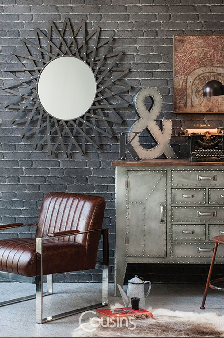 The Dinah is one of our industrial style mirrors. Unique starburst shaped frame immediately catches the eye. Textured finish and rivet detailing make it a perfect addition to any industrial-inspired interior.
