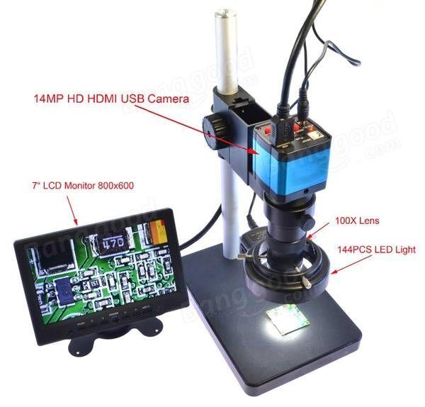 14MP HDMI HD USB settore digitale videocamera microscopio impostato con grande boom supporto da tavolo stereo