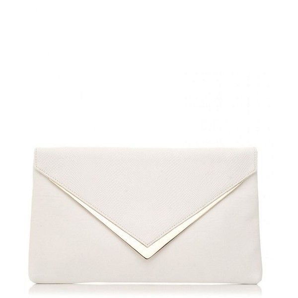Quiz White pu gold trim envelope bag ❤ liked on Polyvore featuring bags, handbags, clutches, python print handbag, python purse, snakeskin print purse, white handbags and snake print handbags