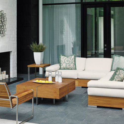 Tommy Bahama Tres Chic 5-Person Teak Patio Deep Seating Set
