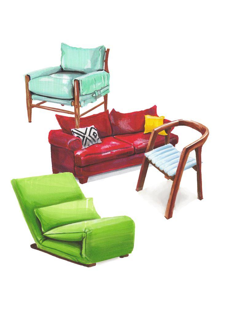 furniture sketch marker sofa chair