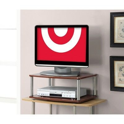 Two Tier Swivel TV Stand Cherry (Red) 24 - Convenience Concepts