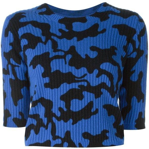 Zoe Jordan Newton Camo Jumper featuring polyvore women's fashion clothing tops sweaters blue wool tops camouflage top wool sweaters jumpers sweaters blue top