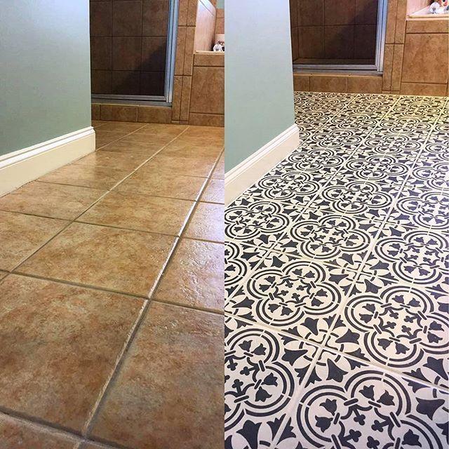 Diy Kuche Boden Makeover Ideen Fur Ein Budget Mit Schneidkante Stencils Flies Kuchendekoration In 2020 Floor Makeover Tile Stencil Kitchen Flooring