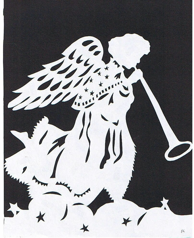 Kirigami - Trumpeting Angel Sihouette Papercutting. $9.75, via Etsy.