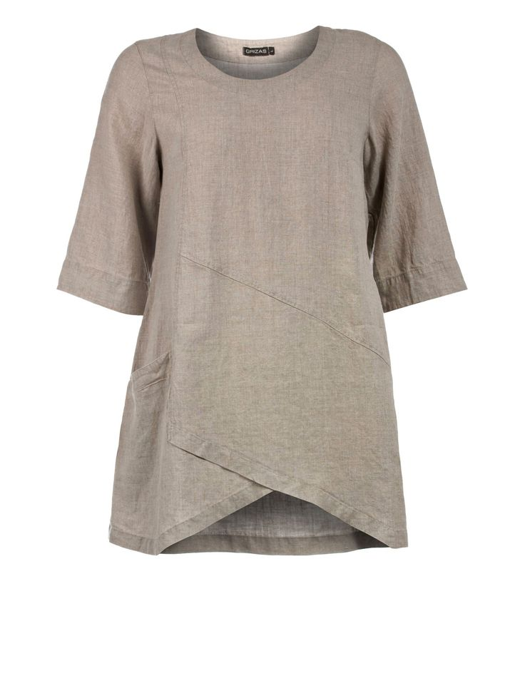 Grizas linen tunic with A-line in Nature