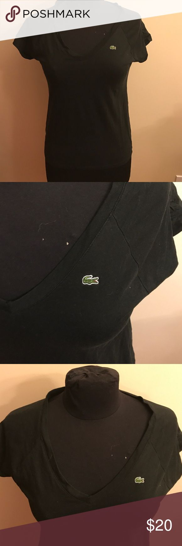 2/$20 sale! Lacoste V-neck tee Black V-neck tee shirt. Size 36 which is equivalent to a size 4. Lacoste Tops Tees - Long Sleeve