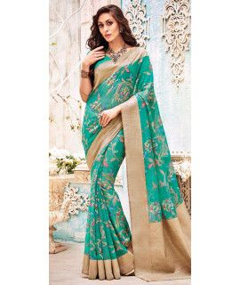 Excellent Green And Beige Silk Saree.