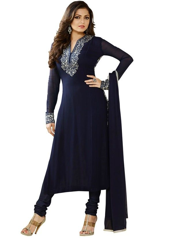 Drashti Dhami Midnight Blue Churidar Kameez Set