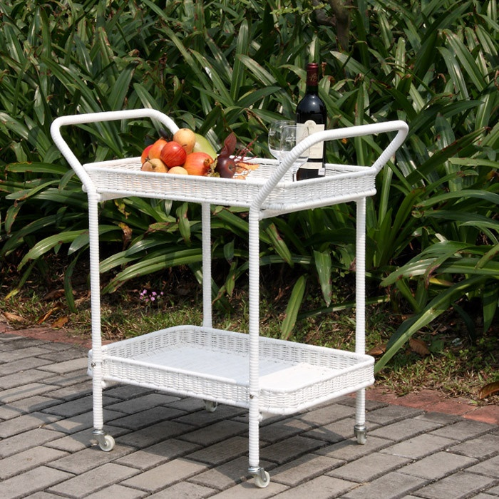 Order Kontiki Wicker Serving Carts White Wicker Patio Serving Cart,  Delivered Right To Your Door.