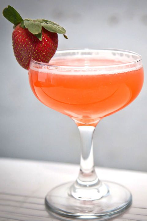 This drink from Lazy Point bar in NYC is all about the strawberry flavor. Ingredients: .75 oz Reyka vodka .75 oz St. Germain elderflower liquor .75 oz fresh lemon juice .75 oz simple syrup 4-5 strawberries prosecco (to top) Directions: 1. Shake hard with ice and strain into coupe 2. Top with prosecco 3. Garnish with either a lemon zest or a whole strawberry