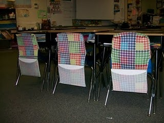Stretchy book covers as chair covers to hold suppliesChair Covers, Good Ideas, Chairs Pocket, Frugal Teachers, Stretchy Book, Stretchable Book, Book Covers, Classroom Ideas, Chairs Covers