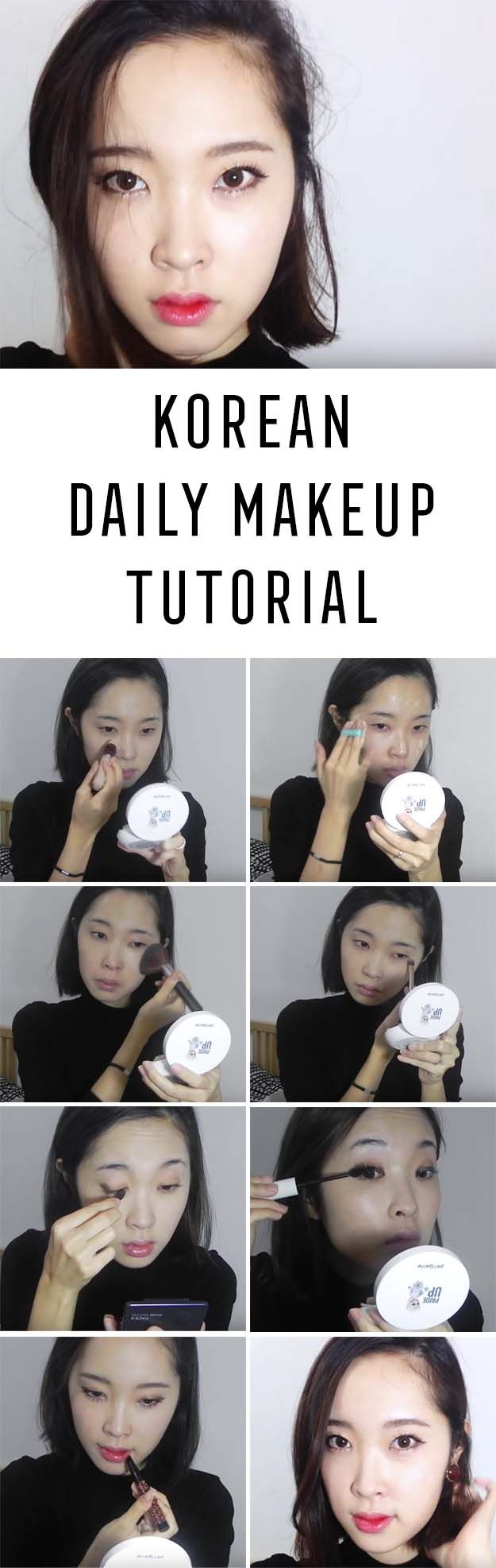 Best Korean Makeup Tutorials - Korean Daily Makeup Tutorial⭐️ 겨울 데일리메이크업 - Natural Step By Step Tutorials For Ulzzang, Pony, Puppy Eyes, Eyeshadows, Kpop, Eyebrows, Eyeliner and even Hairstyles. Super Cute DIY And Easy Contouring, Foundation, and Simple Dewy Skin Help For Beginners - https://www.thegoddess.com/best-korean-makeup-tutorials