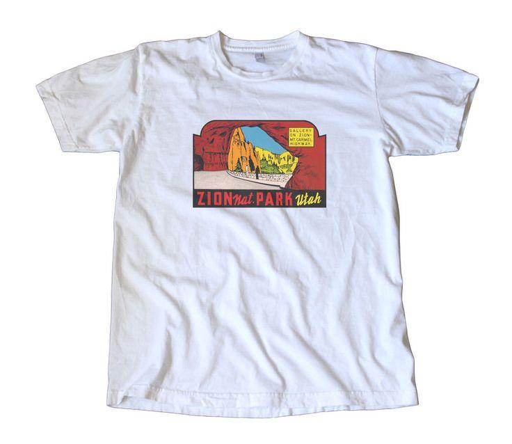 Vintage Zion National Park Travel Decal T-Shirt - Utah, Mojave, Camping, Hiking #AmericanApparel #BasicTee