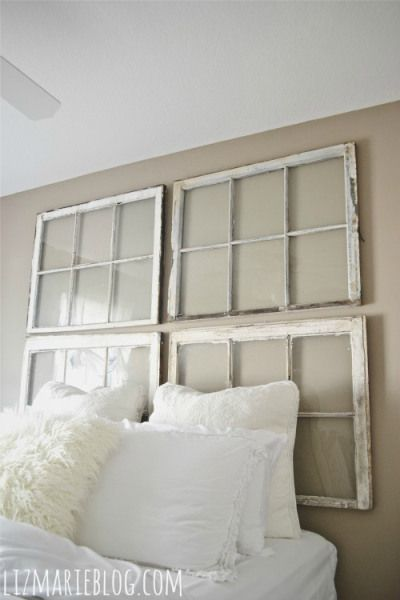 Another DIY Headboard - I'd love to see one that combines the window panes and uniques fabrics.