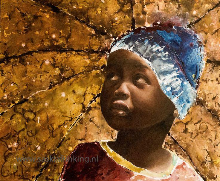 african boy under umbrella