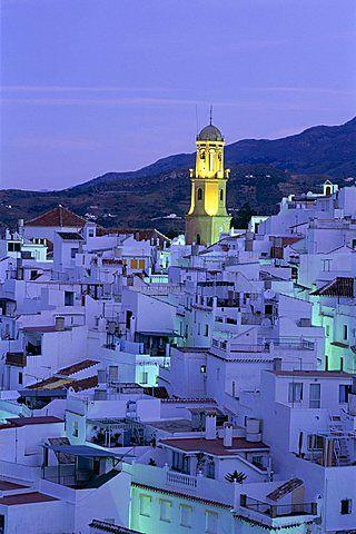 Competa en la noche, Pueblos Blancos , Andalucía, España, Europa