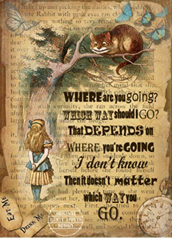 ALICE IN WONDERLAND: THE CHESHIRE CAT VINTAGE QUOTE METAL SIGN :LOVELY GIFT IDEA
