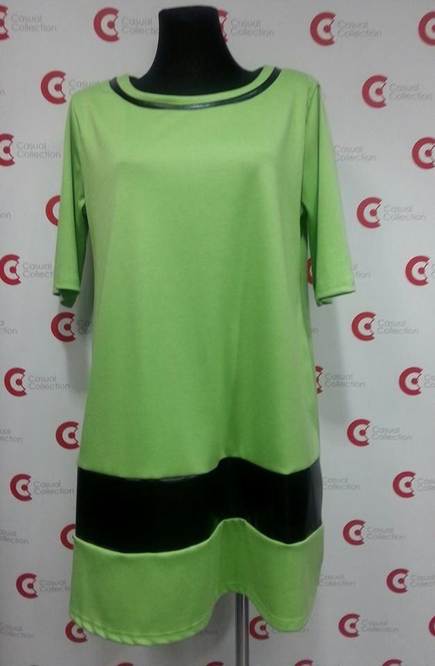 Sukienka w kolorze zielonym z czarnymi wstawkami