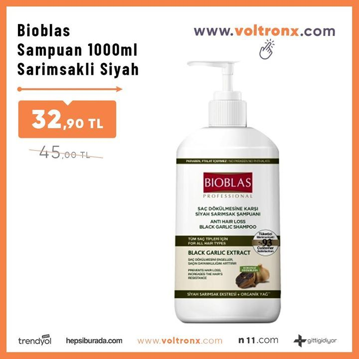 Bioblas Sampuan 1000ml Sarimsakli Siyah Sac Dokulmesine Karsi
