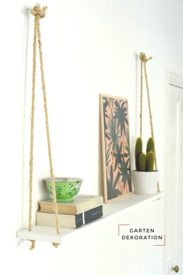 DIY Hacks for Renters – DIY Easy Rope Shelf – Easy Decorating Options #decorating #hacks #options #renters #shelf