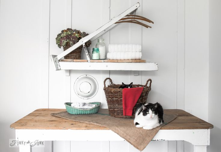 A ladder laundry room shelf for Country Woman Magazine, on FunkyJunkInteriors.net