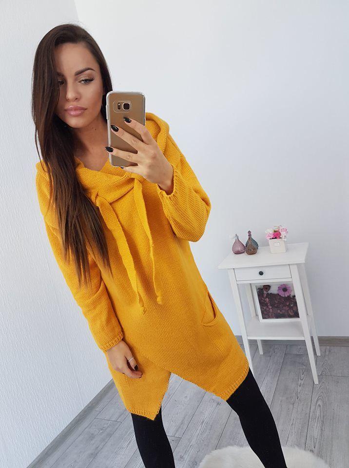 f678023c62aa Krásny dlhý horčicový sveter s golierom