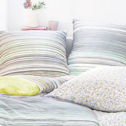 Irisette Mako-Satin Bettwäsche EOS 8616-30 aus zart schimmernder Baumwolle. In frischen Farben wird die gestreifte Garnitur zur Besonderheit im Schlafbereich. Das hochwertige Material aus feinster Baumwolle sorgt für ein unvergleichliches Schlafvergnügen. #bettwäsche #bedding #spring #frühling #streifen #türkis #stripes www.bettwaren-shop.de