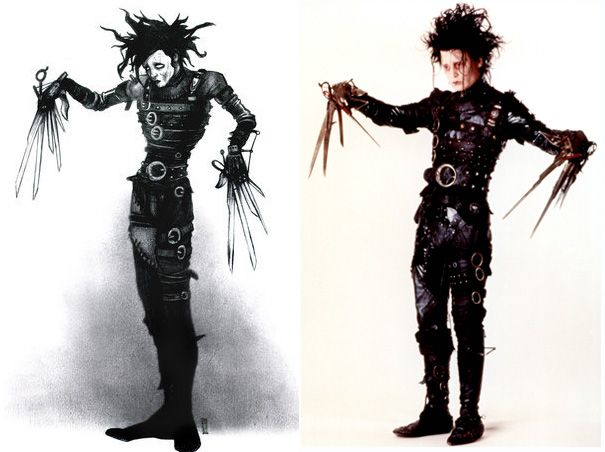 An early sketch of Edward Scissorhand by Tim Burton and Johnny Depp as Edward Scissorhands