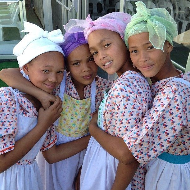 Pretty Nama girls in Northern Cape, South Africa.  The Nama people are related to the Bushmen and live in South Africa and Namibia.