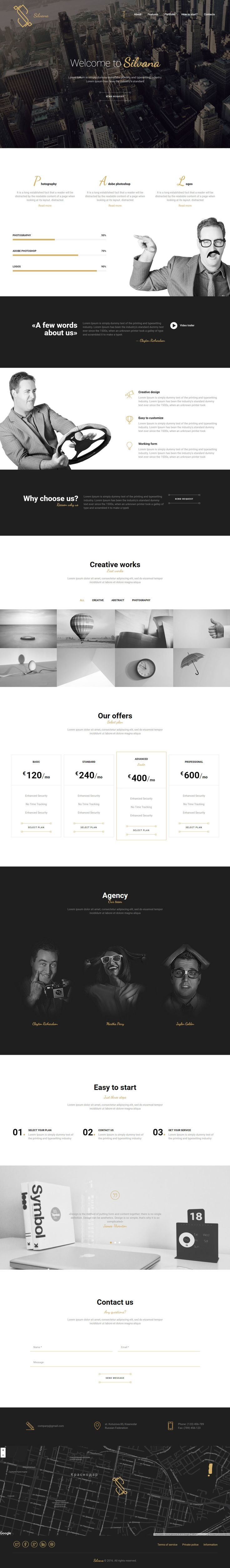 'Silvana' is a One Page HTML template suited for a smart online portfolio. There are 3 header layout options for big image, slideshow or video background. Features include skills graph, allocation for big team member images, lightbox portfolio with category filter, pricing table, testimonial slider and a nice big footer with Google Maps integration. Really like that slick contact form when you click the 'Send Request' buttons.